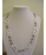 Gray Rice Beaded and Silver Chain Necklace - $5.00