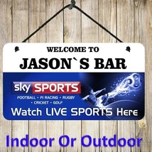 Personalised Hanging Sky Sports Bar Sign Metal Plaque Pub Man Cave Shed ... - $7.79