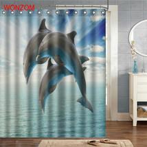 WONZOM Tiger Polyester Fabric Bear Shower Curtain Bathroom Decor Dolphin Waterpr image 4