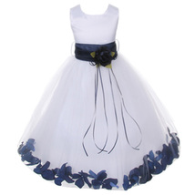 White Satin Bodice Layers Tulle Skirt Navy Blue Flower Ribbon Brooch and Petals - $48.00