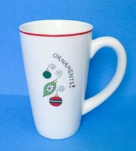 Fitz And Floyd Holiday Ornaments Coffee Mug Christmas Cup Tall White Red Green - $22.76