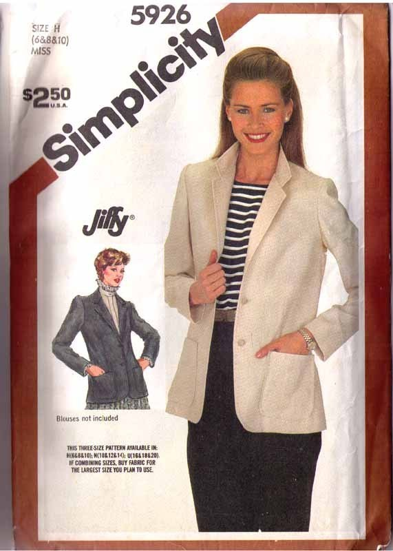 1983 UNLINED JACKET Pattern 5926-s Size 6-8-10 - UNCUT