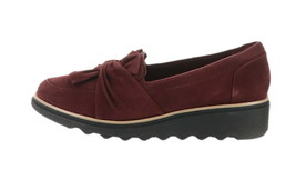 Clarks Suede Slip-On Loafer Knotted Sharon Dasher Aubergine 7.5W NEW A31... - $70.27