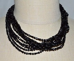 VTG Gold Tone Black Plastic Bead Beaded Multi-Strand Choker Necklace - $19.80