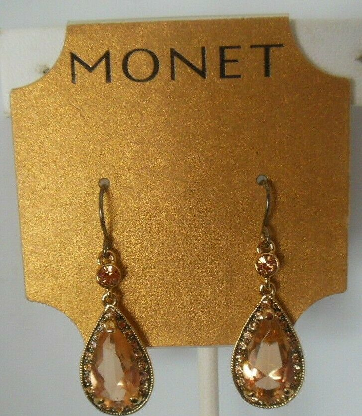Primary image for Vintage Signed Monet Gold Tone Topaz Color Rhinestone Dangle Hook Earrings