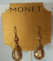 Vintage Signed Monet Gold Tone Topaz Color Rhinestone Dangle Hook Earrings - $18.99