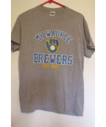 Mens Gildan Gray Short Sleeve Milwaukee Brewers Baseball T Shirt Size M - $12.95