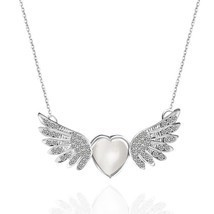 Unique Design Fashion Zinc Alloy Rhinestone Angel Wing Heart Pendant nec... - $5.94