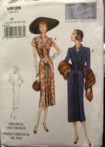 Vogue V9126 Vintage Model Original 1947 Design 2 Styles Dresses Uncut Size 14-22 - $26.43
