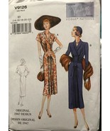 Vogue V9126 Vintage Model Original 1947 Design 2 Styles Dresses Uncut Si... - $26.43