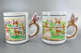 2 Cottontail Rabbit Garden Bunny Handle Coffee Mugs Cups - $9.00
