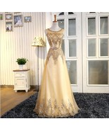 Shiny Gold Sequin Long Prom Dress 2019 Women Scoop Sheer Formal Evening ... - $68.99