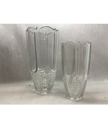 Set of TWO Crystal GLASS VASES One Small Other Large No Markings SCALLOP... - $15.84
