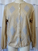 Talbots Womens M Cardigan Sweater Tan Gray Ivory Argyle - $14.95