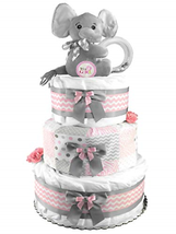 Elephant 3-Tier Diaper Cake - Baby Shower Gift - Pink and Gray - $82.46