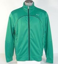 Puma Cat Logo USP Moisture Wicking Green Performance Track Jacket Mens NWT - $41.24