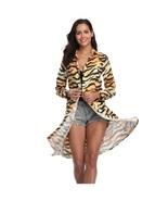 Tiger Stripe Print Turn Down Collar Long Sleeve Cardian T-Shirt Dress wi... - $69.95