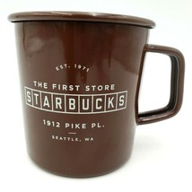 Starbucks The First Pike Place Store 2016 Enamel Tin Brown Coffee Campin... - $13.88