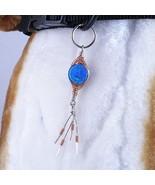 Herringbone Sculpture Dangle dog collar charm wire wrapped, zipper pull - $15.00