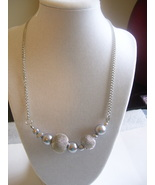 Silver Toggle Mesh and Gray Round Bead Necklace - $0.00