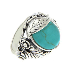 Solid Sterling Silver Turquoise Leaf Ring»R116 - £23.10 GBP