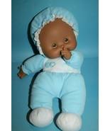 KS Toys K S Baby Doll Blue Hearts Cloth Plush Body Brown Vinyl Face Thum... - $21.26