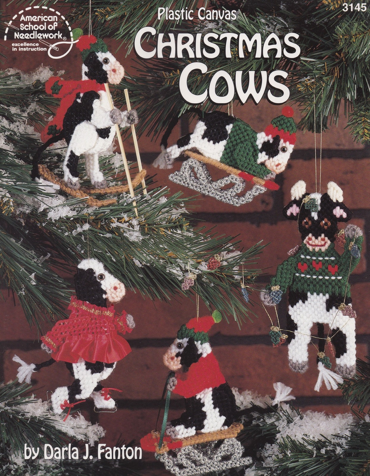 Primary image for Christmas Cows, Plastic Canvas Pattern Booklet ASN 3145 Holiday Ornaments OOP