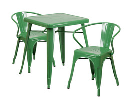 Flash Furniture Green Metal Indoor Outdoor Table Set With 2 Arm Chairs C... - $293.55