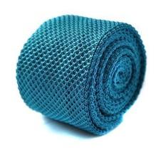Frederick Thomas plain turquoise knitted tie