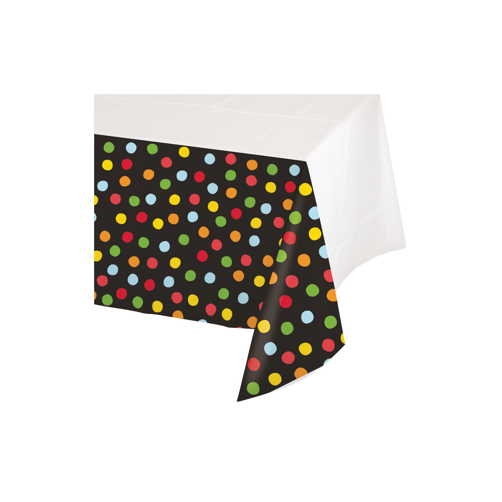 "Polka Dot Birthday 48"" x 88"" Plastic Tablecover, Case of 12"