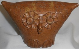 GREAT DESIGN! Mid Century Modern STONEWARE ART POTTERY Owl Bank - $55.43
