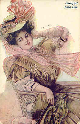 A Lovely Lady Satisfied With Life Vintage 1909 Post Card