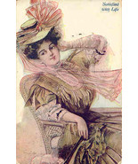 A Lovely Lady Satisfied With Life Vintage 1909 Post Card - $7.00