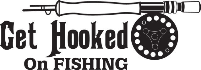 FISH DECAL #FH1/116 GET HOOKED FISHING ROD REEL POLE CATFISH BASS TROUT CAR SUV