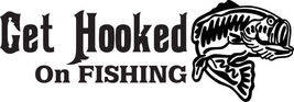 Fish Decal #Fh1/119 Hooked Fishing  Catfish Pole Rod Reeel Whiskers Bait Car Suv - $13.75