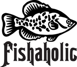 FISH DECAL #FH1/143 FISHAHOLIC BASS TROUT SALMON BAIT HOOK CAR TRUCK AUT... - $15.00
