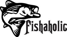Fish Decal #Fh1/144 Fishaholic Pike Salmon Bass Catfish Car Truck Auto Suv Van - $14.75