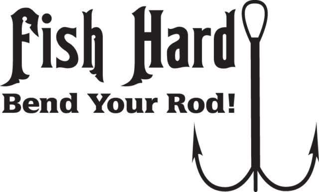 FISH DECAL #FH1/173 HARD BEND ROD POLE WORM HOOK LINE FLY BASS CAR TRUCK AUTO