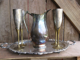 Vintage Silver Plate Pitcher with Brass Stemmed Goblets and Serving Tray - $29.69