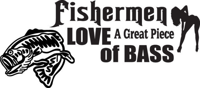 FISH DECAL #FH2/196 FISHERMEN LOVE GREAT PIECE OF BASS HOOK LURE CAR TRUCK AUTO
