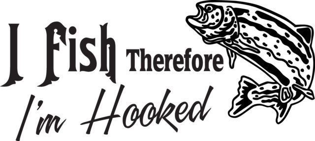 FISH DECAL #FH2/20 I FISH I'M HOOKED BAIT LURE WORM POLE ROD REEL CAR TRUCK SUV