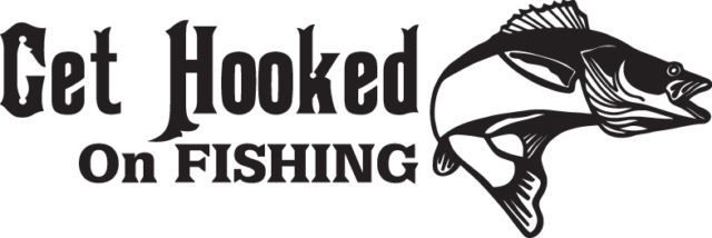 FISH DECAL #FH2/264 GET HOOKED ON FISHING WALLEYE LURE ROD CAR TRUCK AUTO SUV