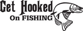 FISH DECAL #FH2/265 GET HOOKED ON FISHING PIKE ... - $24.00