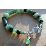 Aventurine Bracelet Green Aventurine Jasper and Black Onyx Bracelet Made... - $39.99