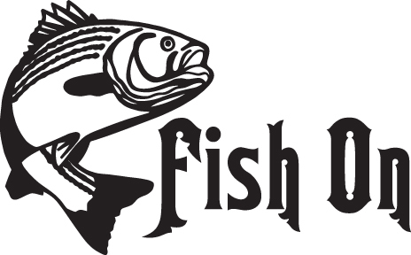 FISH DECAL #FH2/285 FISH ON BASS ROD REEL LURE LINE WORM CAR TRUCK AUTO SUV VAN