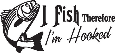 FISH DECAL #FH2/289 I FISH I'M HOOKED BASS FLY WORM ROD REEL CAR TRUCK AUTO SUV
