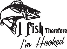 Fish Decal #Fh2/290 I Fish I'm Hooked Walleye Lure Cricket Bug Car Truck Auto  - $24.00