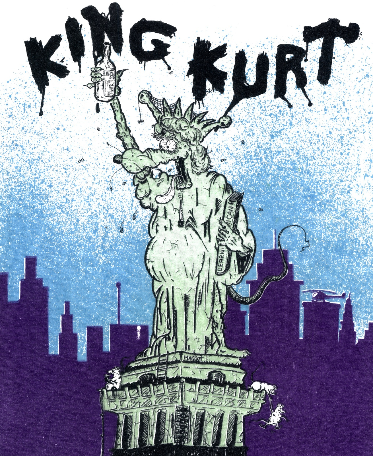 Statue Kurt t-shirt 100% cotton rockabilly king kurt psychobilly cramps retro