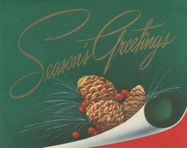 Vintage Christmas Card Pinecones Green Background Red Trim With Envelope - $7.91
