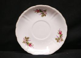 Vintage Wildrose Saucer White w Pink Rose Pattern Embossed & Gold Rim Un... - $8.90